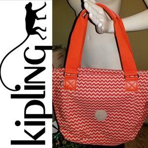 Adorable Orange Kipling Chevron Striped Bag Purse